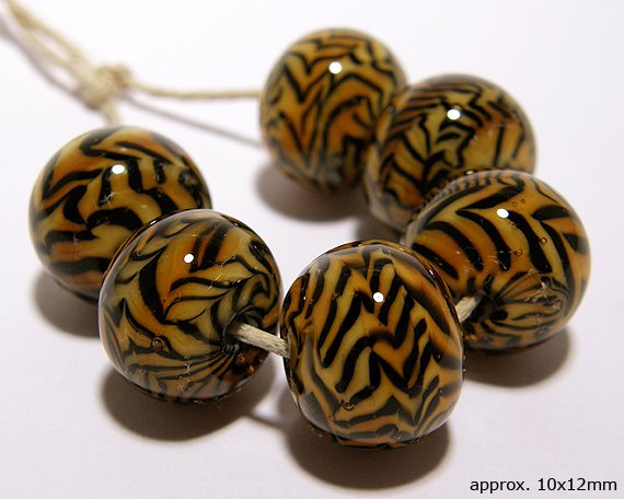 Lampwork glass handmade tiger beads
